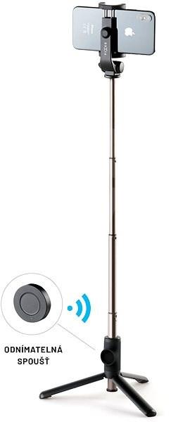 FIXED Snap Lite s tripodem a bezdrátovou spouští černý - Selfie tyč