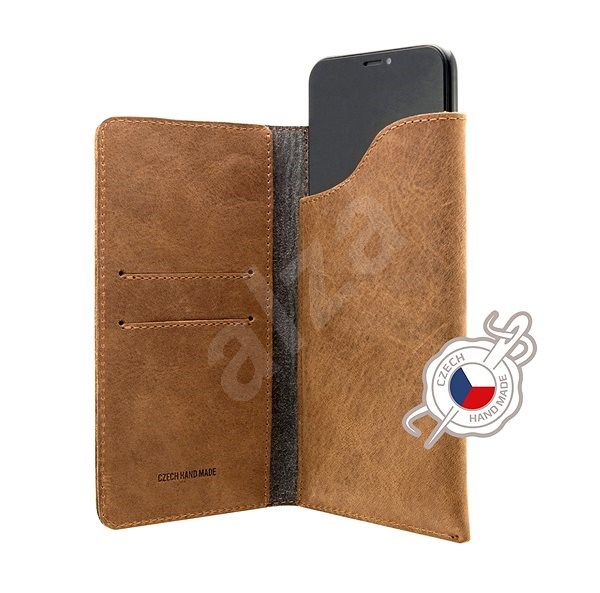 FIXED Pocket Book pro Apple iPhone XR hnědé - Pouzdro na mobilní telefon