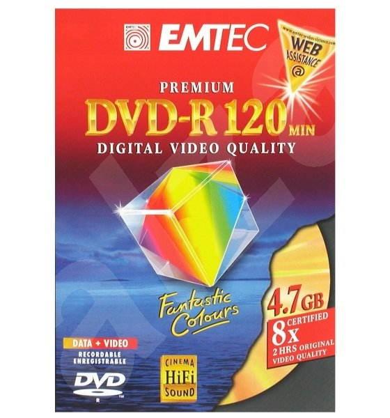 DVD-R médium EMTEC Fantastic Colours 4.7GB, 8x speed, balení v DVD krabičce -
