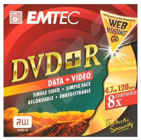 DVD+R médium EMTEC Fantastic Security 4.7GB, 8x speed, balení v krabičce -