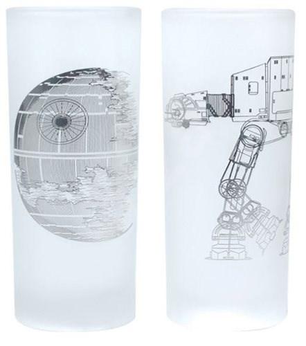 Death Star & AT-AT Walker - 2x sklenice - Sklenice na studené nápoje