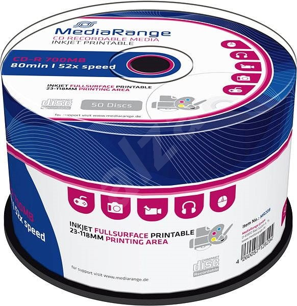 Mediarange CD-R 700 MB 52x spindl 50 ks Inkjet Printable - Média
