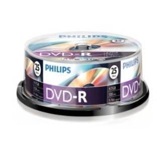 DVD-R médium PHILIPS 4.7GB, 16x speed, balení 25 kusů cakebox -