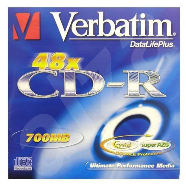 CD-R médium Verbatim DataLife Crystal Green 80m/700MB 40x -