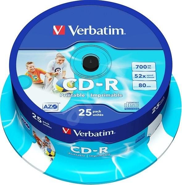 VERBATIM CD-R AZO 700MB, 52x, printable, spindle 25 ks - Média
