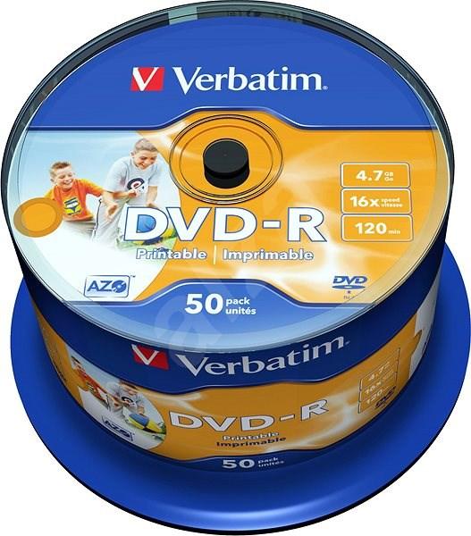 VERBATIM DVD-R AZO 4.7GB, 16x, printable, spindle 50 ks - Média