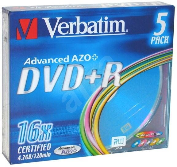 Verbatim DVD+R 16x, COLOURS 5ks v SLIM krabičce - Média