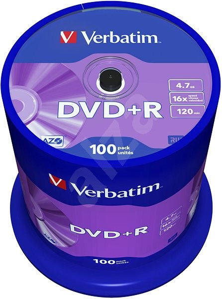 VERBATIM DVD+R AZO 4.7GB, 16x, spindle 100 ks - Média