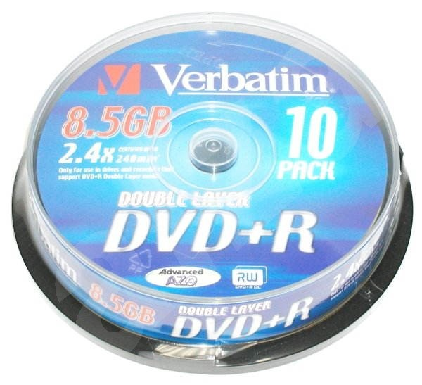 DVD+R Dual Layer médium Verbatim 8.5GB 2.4x speed, balení 10ks cakebox -