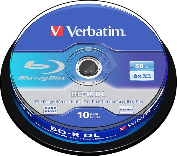 VERBATIM BD-R DL 50GB, 6x, spindle 10 ks - Média