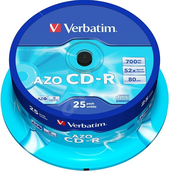 VERBATIM CD-R AZO 700MB, 52x, spindle 25 ks - Média