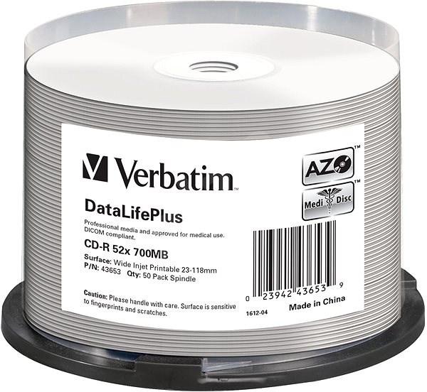 VERBATIM CD-R DataLifePlus 700MB, 52x, silver printable, spindle 50 ks - Média