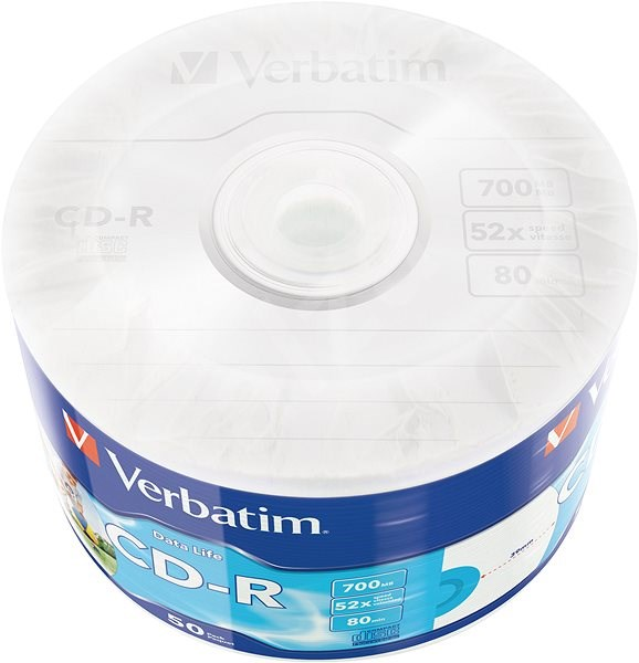 VERBATIM CD-R 700MB, 52x, printable, wrap 50 ks - Média
