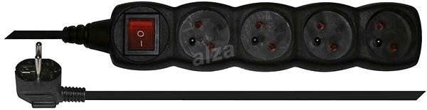 Emos prodlužovací 250V, 4x zásuvka, 3m černý - Napájecí kabel