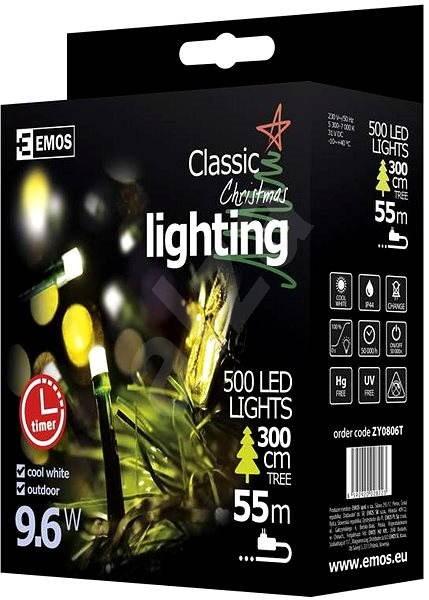 EMOS LED vánoční řetěz, 50m, studená bílá, časovač - Dekorativní osvětlení