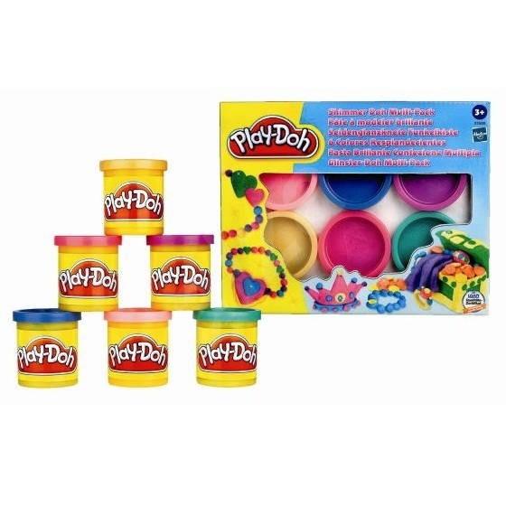 Play-Doh - 6 kelímků třpytivé plastelíny -