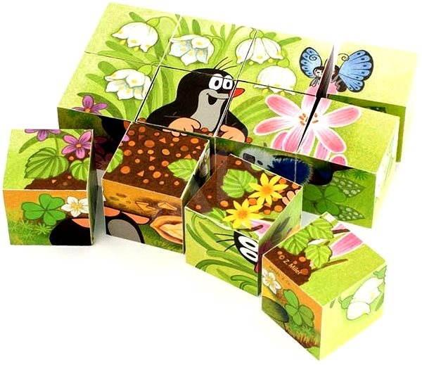 Dino dřevěné kostky kubus - Krteček a ptáček - Obrázkové kostky