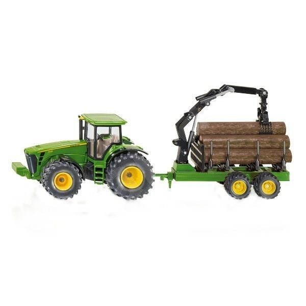 Siku Farmer - John Deere Tractor with Forestry Trailer - Metal Model