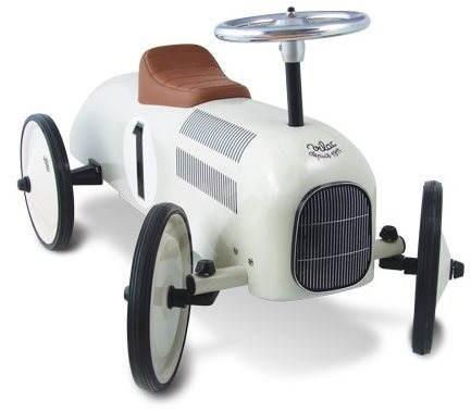 Kovové odrážedlo - Historické závodní auto bílé - Odrážedlo