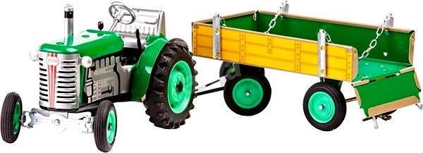 Kovap Traktor s valníkem na klíček zelený - Kovový model