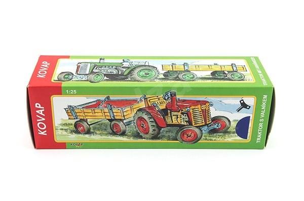 Kovap Traktor s valníkem na klíček modrý - Kovový model
