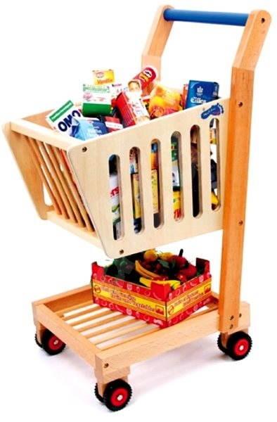 Dětský dřevěný nákupní vozík - Příslušenství k panence