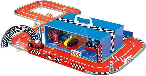 Zábavná hračka Vilac - Závodní dráha s auty v kufříku - Herní set