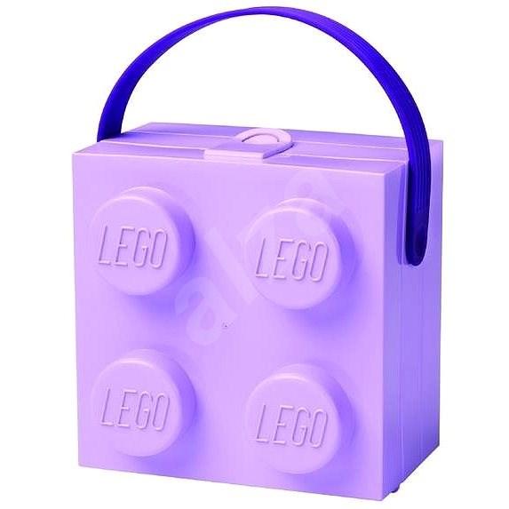 LEGO box s rukojetí - fialová - Svačinový box