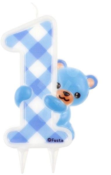 """Svíčka narozeninová, 12cm, medvídek, """"1"""", modrá - Svíčka"""