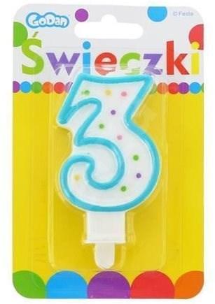 """Svíčka narozeninová, 7,5cm, číslice """"3"""", barevná - Svíčka"""