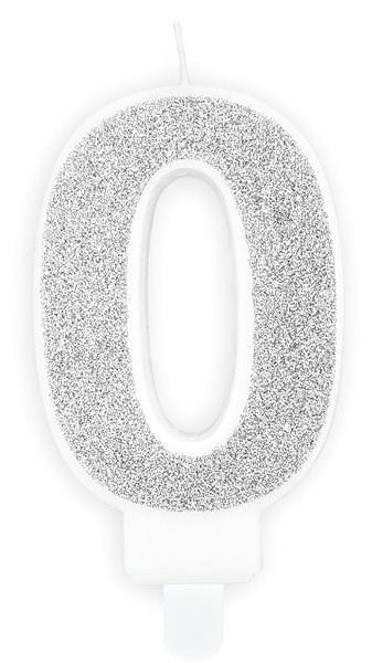 """Svíčka narozeninová, 7cm, číslice """"0"""", stříbrná - Svíčka"""