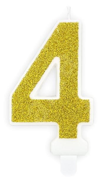 """Svíčka narozeninová, 7cm, číslice """"4"""", zlatá - Svíčka"""