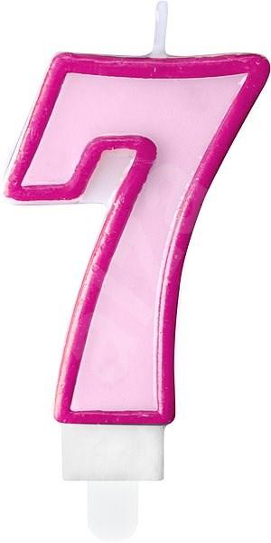 """Svíčka narozeninová, 7cm, číslice """"7"""", růžová - Svíčka"""