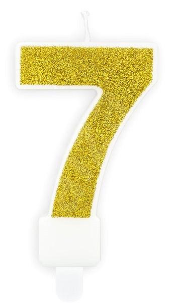 """Svíčka narozeninová, 7cm, číslice """"7"""", zlatá - Svíčka"""