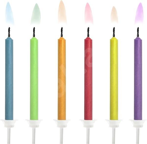 Svíčky dortové, barevné plameny, mix, 6ks - Svíčka