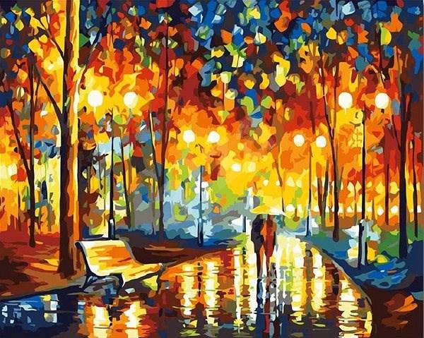 Malování podle čísel - V dešti 40x50 cm vypnuté plátno na rám - Malování podle čísel