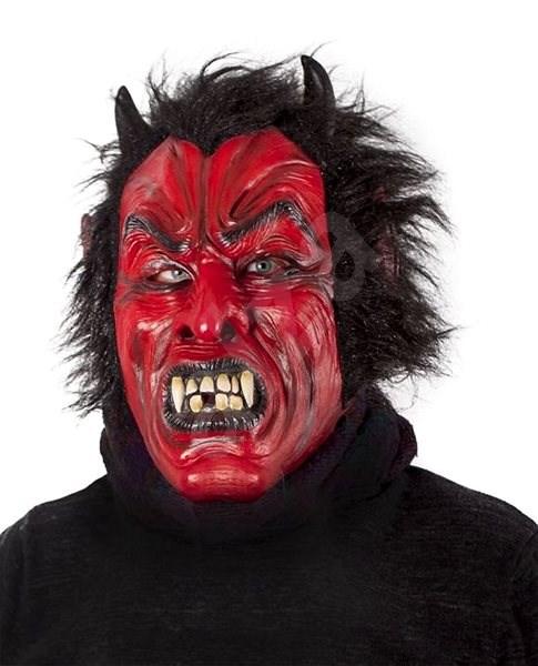 Maska čert/ďábel s vlasy - vánoce - Doplněk ke kostýmu