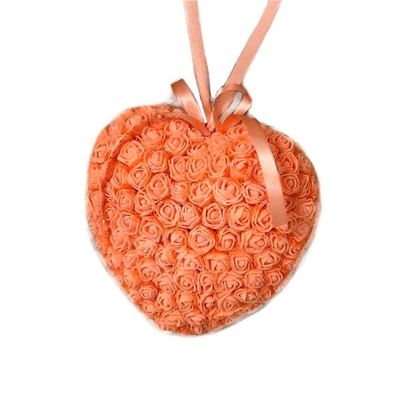 Srdce z růžiček v oranžové barvě 18 cm - Dekorace