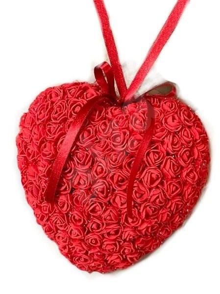 Srdce z růžiček v červené barvě 18 cm - Dekorace
