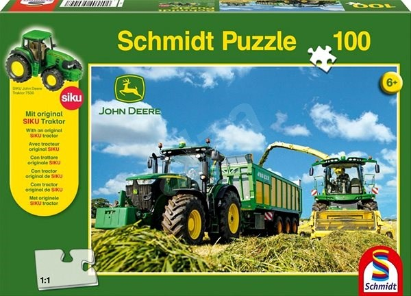 Schmidt Puzzle John Deere Traktor s řezačkou 100 dílků + model SIKU - Puzzle