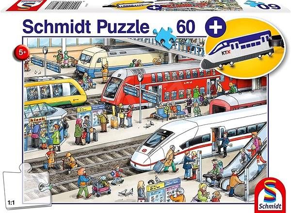 Schmidt Puzzle Na nádraží 60 dílků + dárek (přívěsek) - Puzzle
