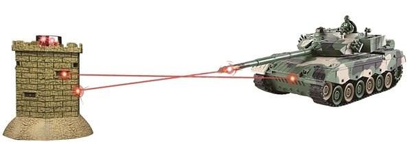Bojující RC tank 1:28 - interaktivní IR bitva Leopard II vs pevnost - Tank na dálkové ovládání