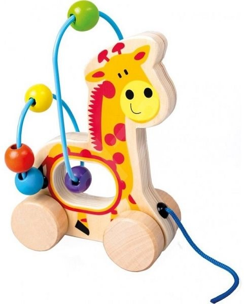 Tahací žirafa, dřevěný labyrint - Didaktická hračka