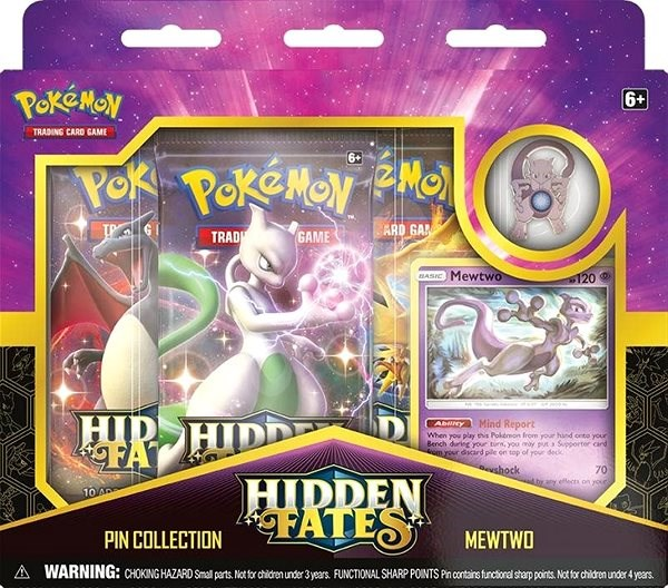 Pokémon TCG: Hidden Fates Pin Collection - Mewtwo/ Mew   - Společenská hra
