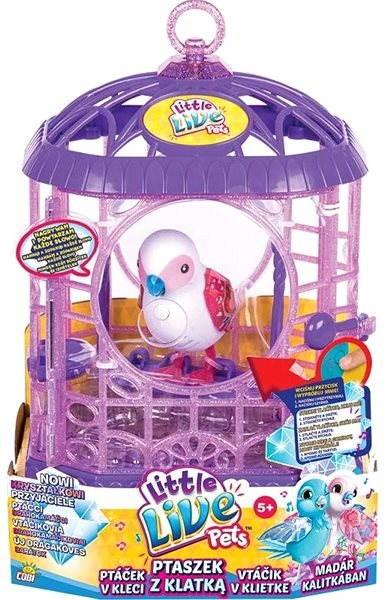 Cobi Little Live Pets Ptačí klec bílý ptáček - Interaktivní hračka