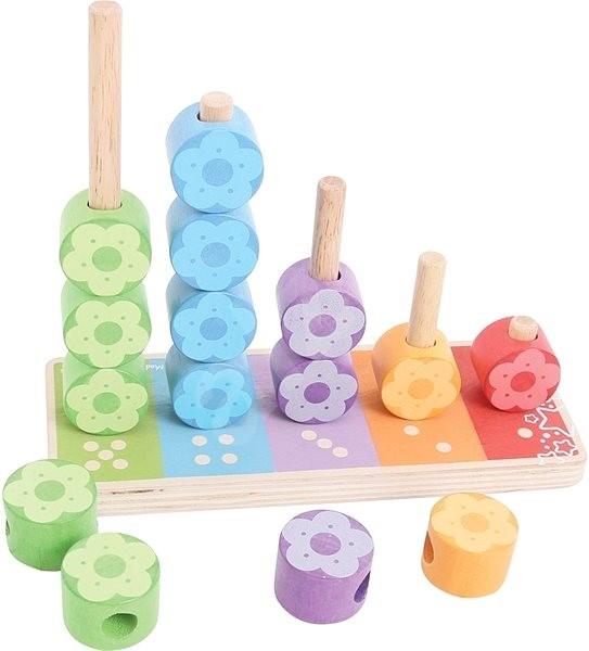 Bigjigs Nasazování barevných květinek - Didaktická hračka