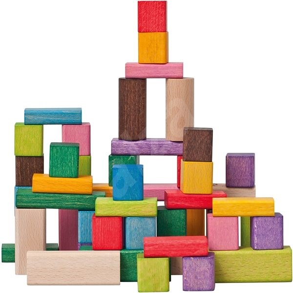 Woody Kostky barevné, FSC 50 dílů - Dřevěné kostky