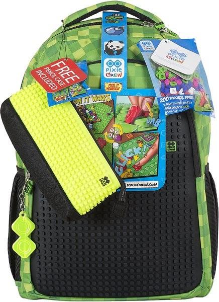Pixie Batoh s penálem zelená kostka černá deska - Školní set  45ec8cc3fc