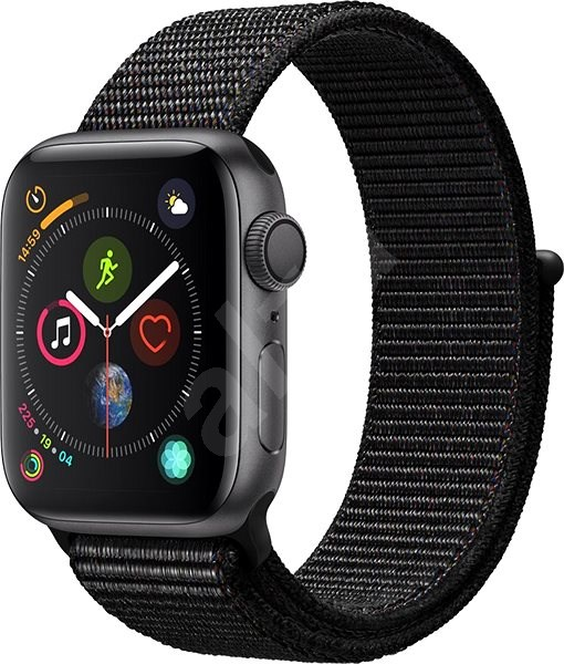 Apple Watch Series 4 40mm Vesmírně černý hliník s černým provlékacím sportovním řemínkem - Chytré hodinky