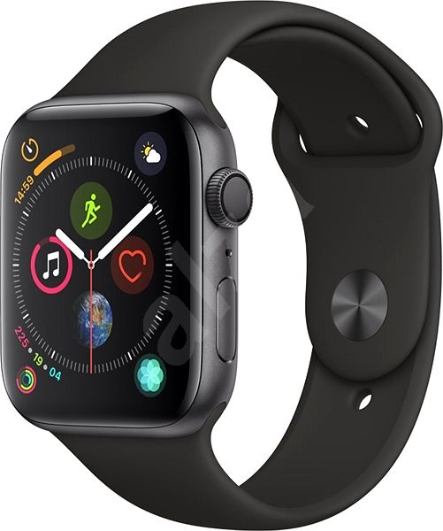 d4ab2c55a00 Apple Watch Series 4 44mm Vesmírně černý hliník s černým sportovním  řemínkem - Chytré hodinky